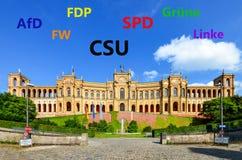 Baviera prima che l'elezione 2018, Maximilianeum - Parlamento bavarese Monaco di Baviera, Baviera Germania dello stato dello stat fotografie stock libere da diritti
