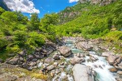 Bavona river with Swiss Alps in canton Ticino, Bavona valley, Switzerland, Europe.  royalty free stock photography