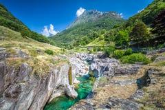 Bavona river with Swiss Alps in canton Ticino, Bavona valley, Switzerland, Europe.  stock images