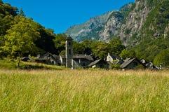 Bavona Valley - Foroglio, Switzerland. Ancient small town of Foroglio - Switzerland stock image