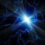 Bavure bleue lumineuse avec la foudre illustration stock
