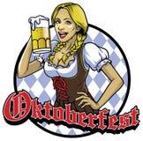 Bawarska dziewczyna z szkłem oktoberfest piwna odświętność ilustracji