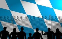 Bawarska flaga Za Bezpiecznie ogrodzeniem ilustracji