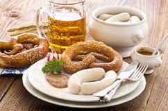 Bawarski śniadanie z Białą kiełbasą zdjęcie stock