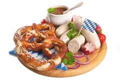 Bawarski cielęciny kiełbasy śniadanie obraz stock