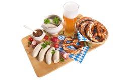 Bawarski cielęciny kiełbasy śniadanie zdjęcia royalty free