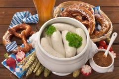 Bawarski cielęciny kiełbasy śniadanie obrazy stock