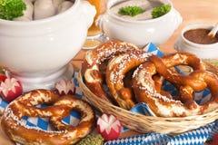Bawarski cielęciny kiełbasy śniadanie zdjęcie royalty free