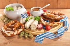 Bawarski cielęciny kiełbasy śniadanie Obrazy Royalty Free