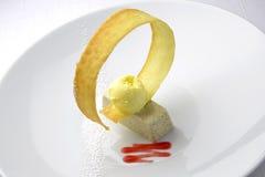 Bawarski deser z oliwkami 3 i lody Zdjęcia Royalty Free
