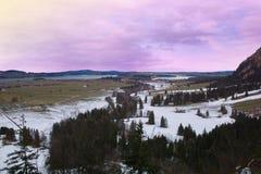 Bawarski krajobraz w zima sezonie przy półmrokiem, Niemcy Obraz Stock