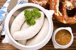 Bawarski Weisswurst śniadanie obrazy stock