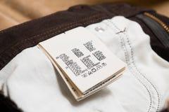 Bawełniana odzieży etykietka, etykietka lub Zdjęcia Stock
