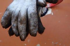 Bawełniana rękawiczka, już brudna, wiesza Zdjęcia Stock