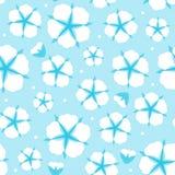 Bawełnianego kwiatu Bezszwowy wzór Mieszkania stylowy śliczny błękitny tło również zwrócić corel ilustracji wektora Ilustracji