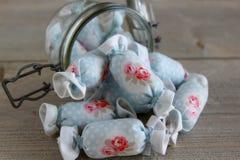 Bawełniany cukierek dla Wewnętrznej dekoraci w słoju szkle Zdjęcia Royalty Free