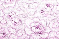 bawełnianej tkaniny kwiatu peoni druk Zdjęcia Royalty Free