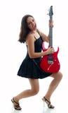 bawić się ładną czerwień dziewczyny elektryczna gitara Zdjęcie Stock