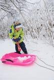 bawić się śnieg ilustracyjny dzieciak Fotografia Stock