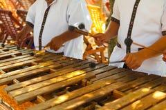 Bawić się drewnianego marimba meksykańscy muzycy zdjęcie stock