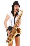 bawić się saksofon chińska dziewczyna obrazy stock