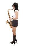 bawić się saksofon chińska dziewczyna zdjęcia royalty free