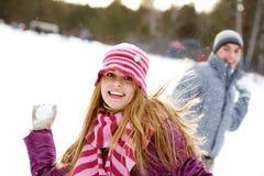 bawić się snowballs Obrazy Royalty Free