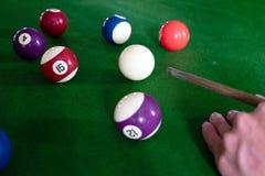 Bawić się, ustanawia snooker piłkę, czerwoną piłkę i piłkę z liczbami, zdjęcie royalty free
