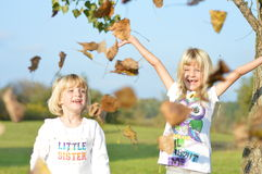 Bawić się w liściach Fotografia Royalty Free