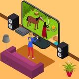 Bawić się Wideo gry i Gamer dziewczyny 3d Isometric widok wektor ilustracji