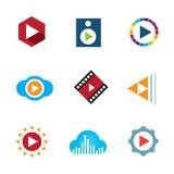 Bawić się wideo guzik chmury loga ikony kreatywnie muzycznej taśmy Obrazy Royalty Free