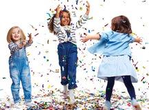Bawić się z confetti Zdjęcie Stock