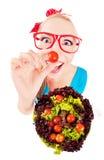 Bawić się z sałatką rozochocona śmieszna dziewczyna Obraz Stock
