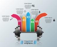 Bawi się aktywność Biznesowy Infographics Barbell ikona Obraz Royalty Free