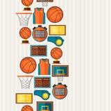 Bawi się bezszwowego wzór z koszykówek ikonami wewnątrz Fotografia Stock