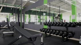 Bawi się bodybuilder młodego człowieka mięśni ciężkiego stażowego trening w gym Zdjęcie Royalty Free