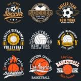 Bawi się gemową typografię piłka nożna, siatkówka i koszykówka -, Set sportowy druk dla koszulka projekta Grafika dla sport odzie ilustracji
