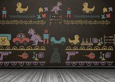 Bawi się grafika na blackboard w pokoju royalty ilustracja