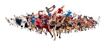 Bawi się kolaż o kickboxing, piłka nożna, futbol amerykański, koszykówka, lodowy hokej, badminton, Taekwondo, tenis, rugby zdjęcia royalty free