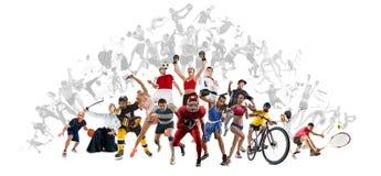 Bawi się kolaż o kickboxing, piłka nożna, futbol amerykański, koszykówka, lodowy hokej, badminton, Taekwondo, tenis, rugby zdjęcia stock