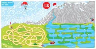 Bawi się labirynt dla dzieciaków Łamigłówka dla rozwój logiki w dzieciach Sporta tematu labiryntu rower, spadochron, wioślarstwo  royalty ilustracja