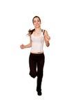 Bawi się nastoletniej dziewczyny jogging. Odizolowywający na bielu Obraz Royalty Free