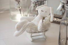 Bawi się noworodków Biały królik w powoziku troszkę zdjęcia royalty free