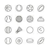 Bawi się piłka ustawiającego ikona wektor Kontur footbal, koszykówka, rugby royalty ilustracja