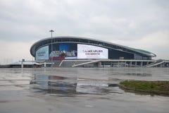 Bawi się powikłaną Kazan arenę, chmurny deszczowy dzień kazan Russia Fotografia Stock