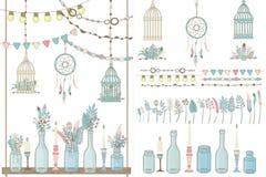 Bawi się set boho dekoracje, girlandy z flaga i lampy, royalty ilustracja