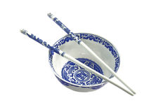 Bawl and sticks. Blue and white chinese traditional bawl with sticks stock image