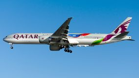 A7-BAX Qatar Airways, Boeing 777-300ER. A7-BAX with FIFA2022 livery is on final approach runway 05 at Istanbul Ataturk Airport LTBA, August 12, 2018 stock image