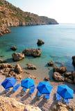 Bay. Sunshades at Anthony Quinn bay, Rhodos Royalty Free Stock Photo