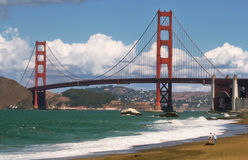 The Bay #2. View on Golden Gate bridge from Baker beach in San Francisco Royalty Free Stock Photos
